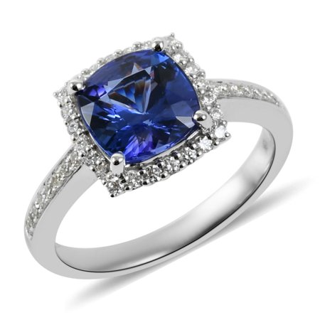 ILIANA 18K White Gold AAA Premium Blue Tanzanite Diamond Bridal Anniversary Halo Ring Jewelry for Women Ct 2.2 G-H Color SI1