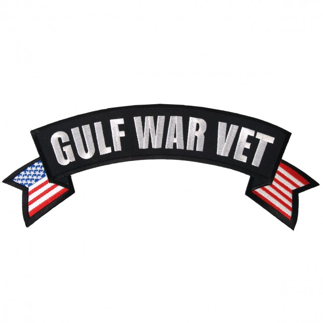 "Gulf War Vet Banner, ""american Flag"", High Thread Embroidered Iron-on / Saw-on Rayon PATCH - 11"" X 3"""