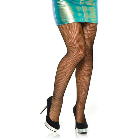 Women's Rhinestone Fishnet Tights, Black, O/S (Leg Avenue Fishnet Tights)