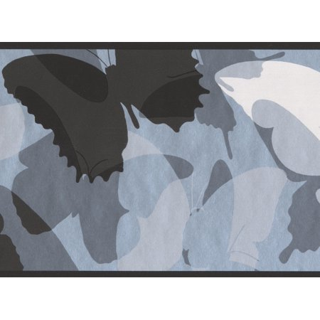 Black Grey White Abstract Butterflies Wallpaper Border for Kids, Roll 15' x 6''](Wallpaper Halloween Black And White)