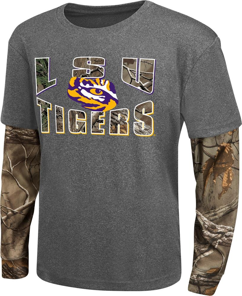 Youth Camo Layered LSU Tigers Louisiana State Long Sleeve Tee by Colosseum