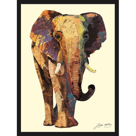 (Empire Art Direct Elephant Dimensional Collage Hand Signed by Alex Zeng Framed Graphic Art)