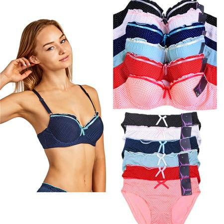 571815f52bd43 Uni Style Apparel - Uni Style Apparel Womens Plain Demi Cup Bra and Bikini  Panty Set -12 Pack (6 Pieces Each) - Walmart.com