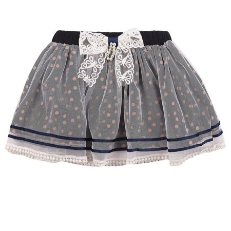 richie house little girls navy white sweet polka dot lace overlaid bow skirt - Navy And White Polka Dot Skirt