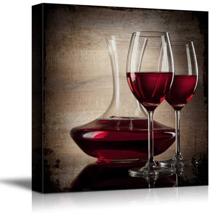 wall26 - Square Canvas Wall Art - Red Wine in Glasses - Giclee Print Gallery Wrap Modern Home Decor Ready to Hang - 16x16 inches Square Canvas Prints