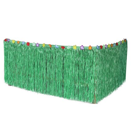 276*75CM Hawaiian Table Skirt Grass Desk Skirt for Luau Party Decoration (Green)