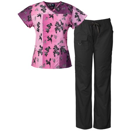 Medgear Women's Scrubs Set Multi-Pocket Top & Pants, Medical Uniform CHBP (Halloween Nurse Scrubs)