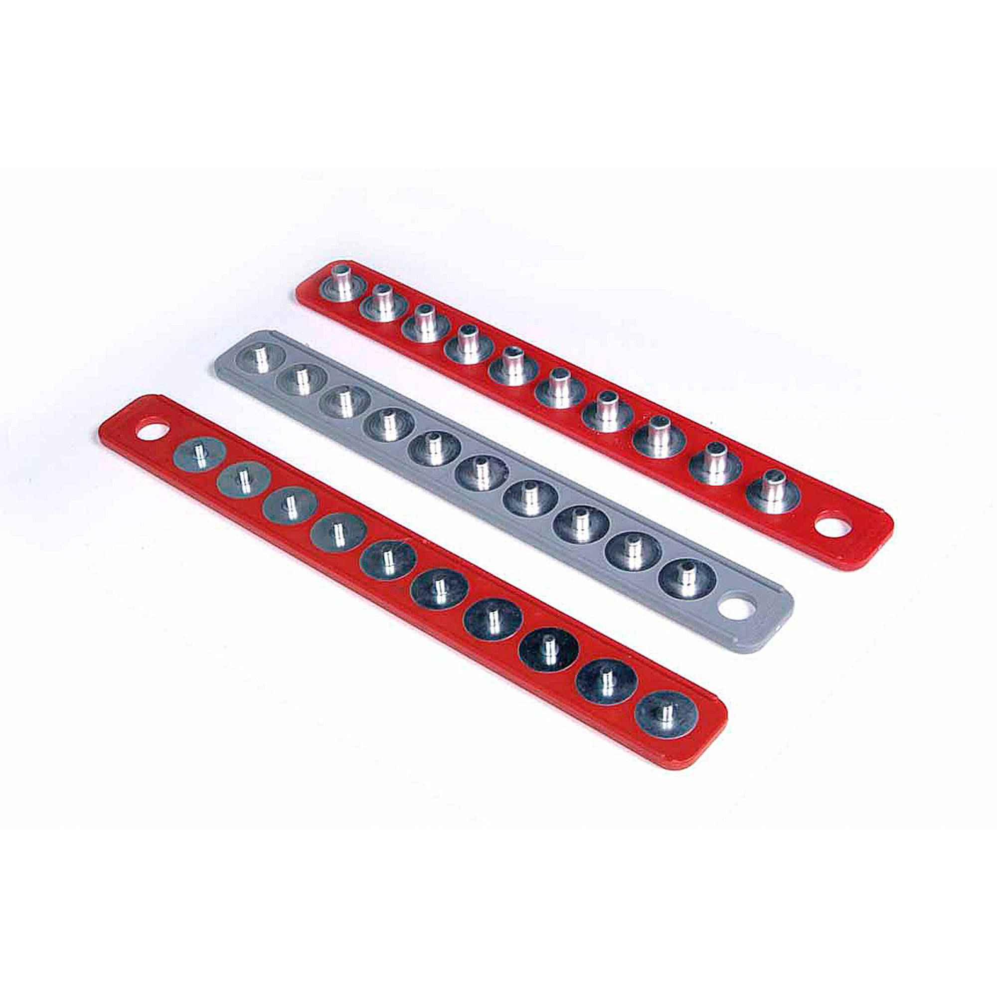 "MagClip 1/4"" Drive 16-5/8"" Red, 1/2"" Drive 16-5/8"" Red, 3/8"" Drive 15-5/8"" Gray Magnetic Socket Holder Strip Assortment"