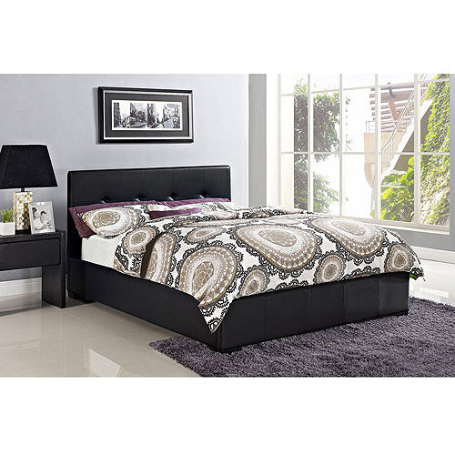 Novara Queen Faux Leather Upholstered Bed with Headboard, Black