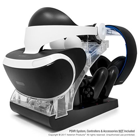 PSVR Charging Stand with Optional Illumination by Asterion Products - Rapid AC Charger Display holds the PlayStation VR Heads (Optional Charger)