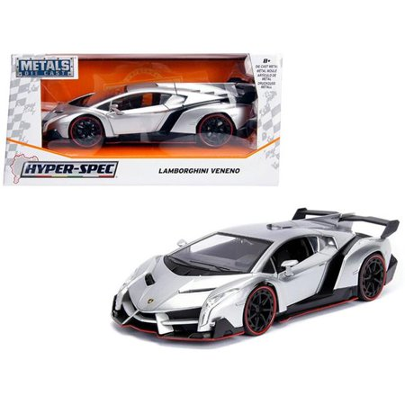 Lamborghini Veneno Candy Silver 1/24 Diecast Model Car by (Best Lamborghini Car In The World)