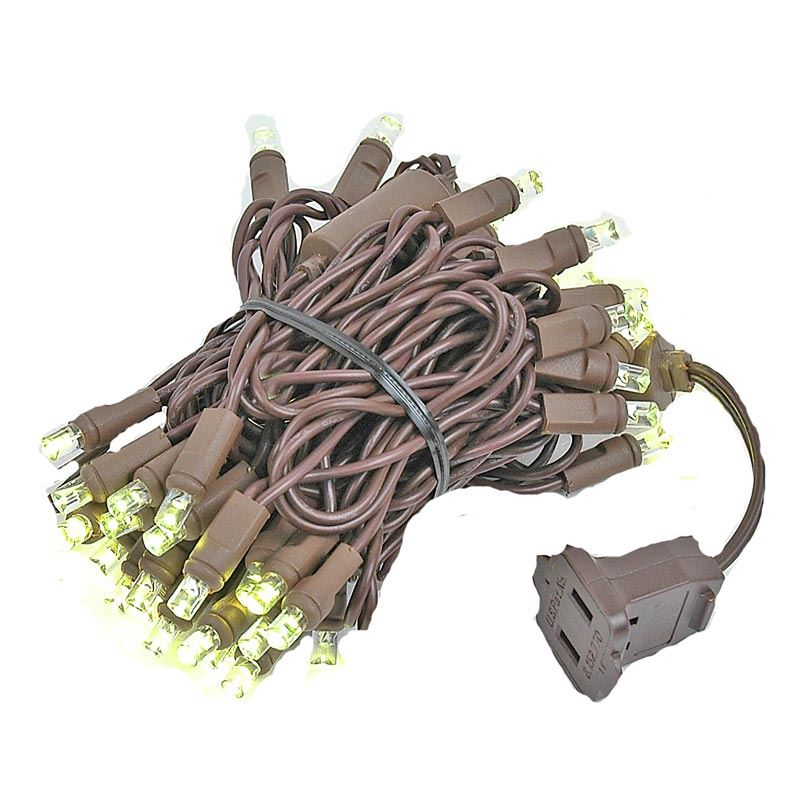 Novelty Lights 50 Light LED Christmas Mini Light Set, Outdoor Lighting Party Patio String Lights, Brown Wire, 11 Feet