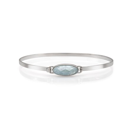 Natural Milky Aquamarine Gemstone Sterling Silver Bangle Cuff Bracelet, 7.5""
