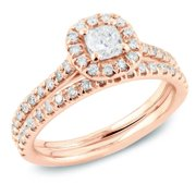 Auriya 14k Rose Gold 1ct TDW Cushion Diamond Halo Bridal Ring Set (H-I, SI1-SI2) Rose Gold - Size 6