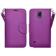 Pu Leather Wallet Case Galaxy Note 4 Case, Wrist Strap Magnetic Fold[Kickstand] with ID & Credit Card Slots for Galaxy Note 4 - Purple