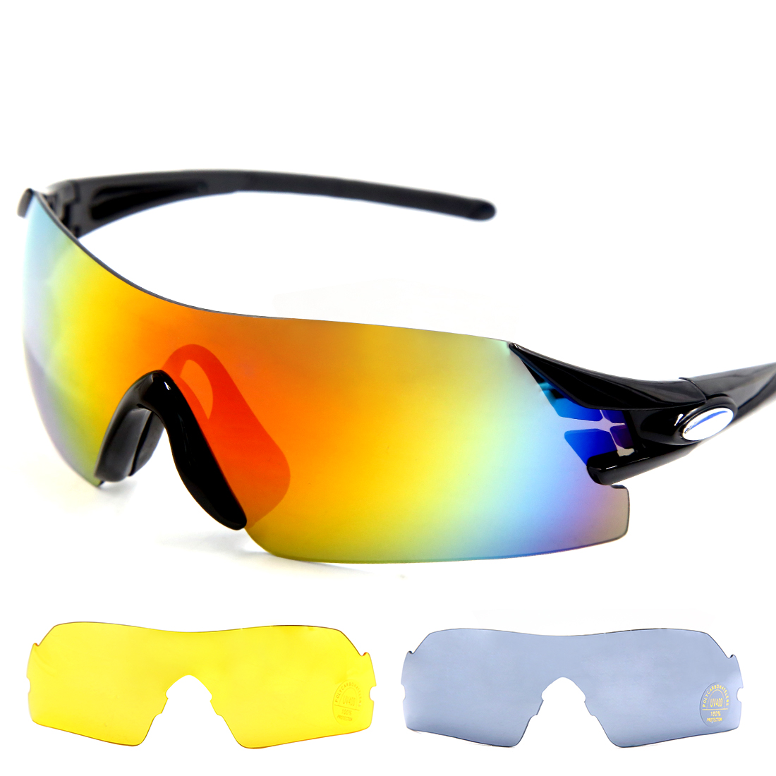 Bike Cycling Sunglasses 3 Interchangeable Lens Racing Running Sports Glasses Men Women Black