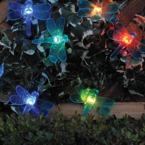 Smart Solar Color-Changing Light String, 20 Pieces, Dragonfly