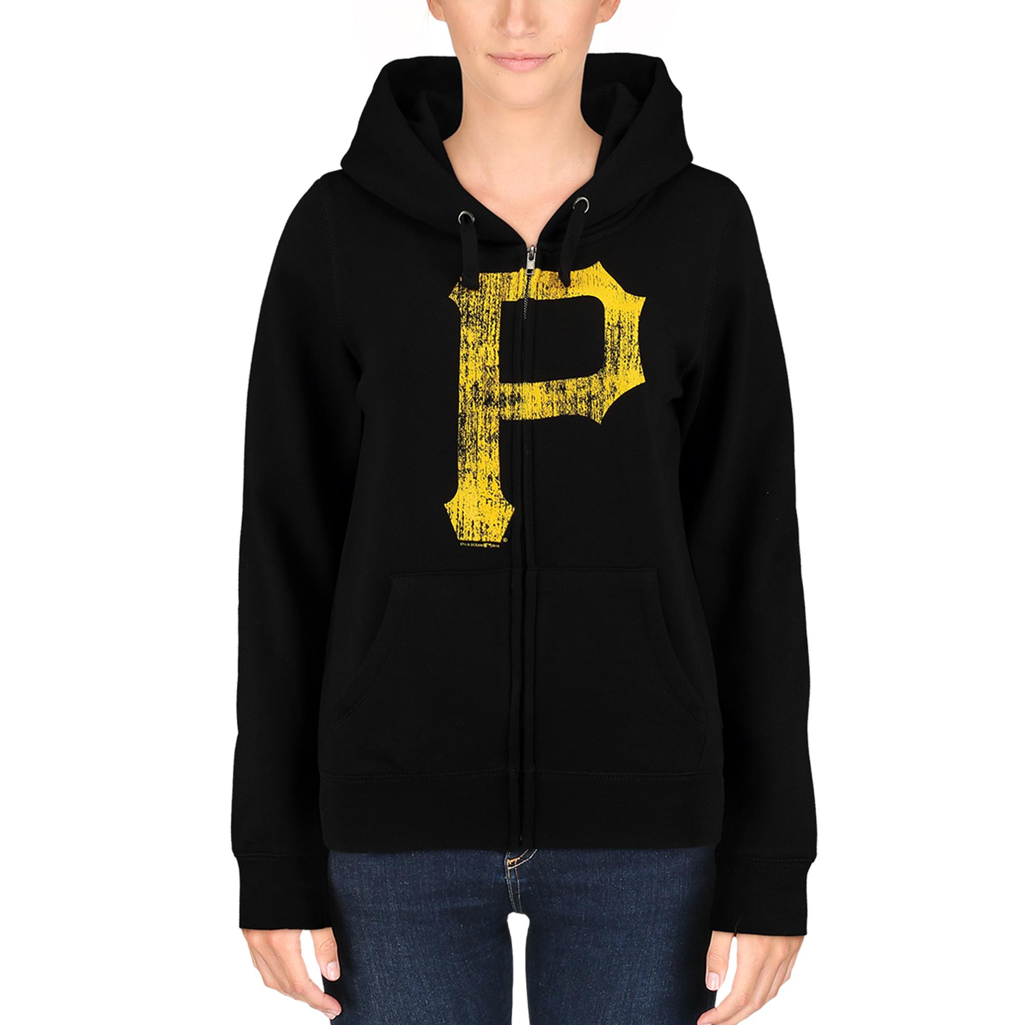 Pittsburgh Pirates 5th & Ocean by New Era Women's Core Fleece Hoodie - Black