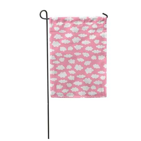 POGLIP Pattern Clouds on Pink Scandinavian Doodle Swatch Garden Flag Decorative Flag House Banner 28x40 inch - image 1 of 1
