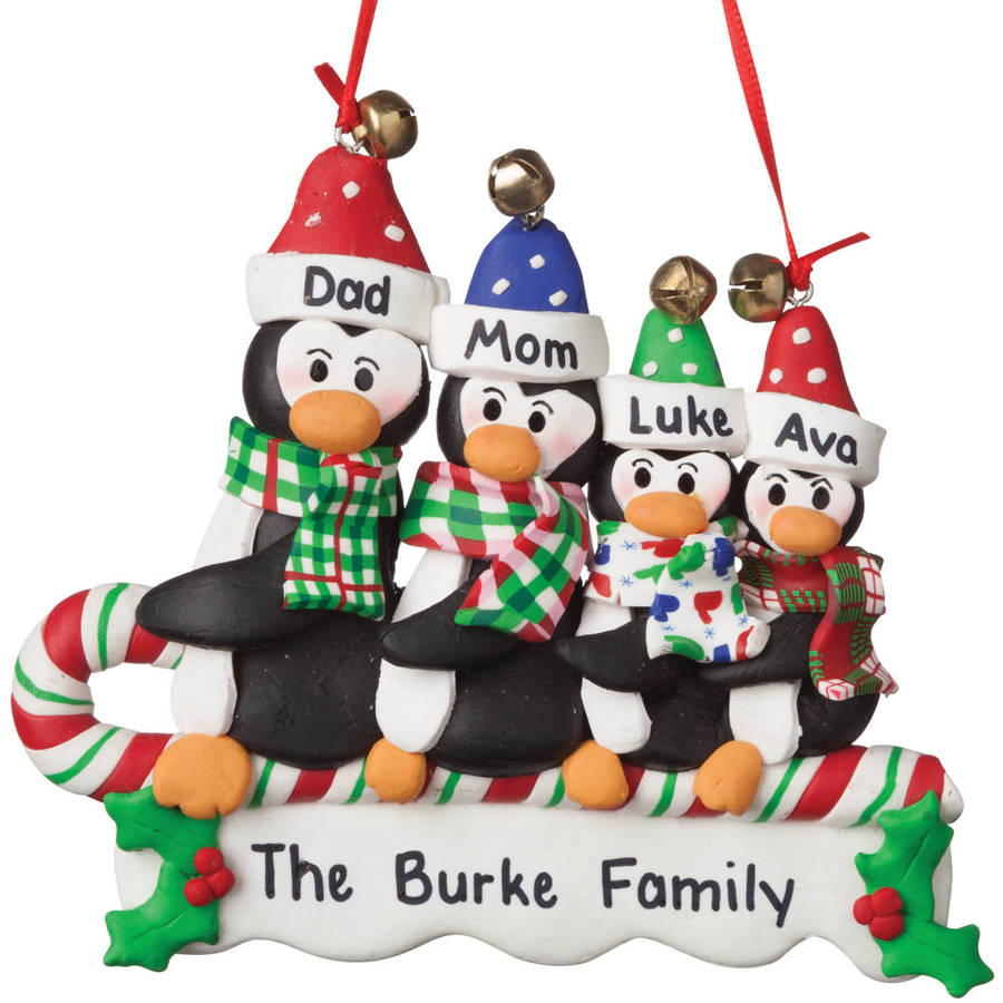 Personalized Sledding Penguins Christmas Ornament, Family of 4