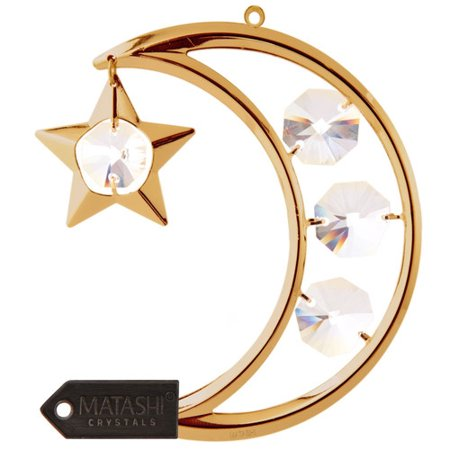 Matashi Crystal Moon and Star Hanging Ornament