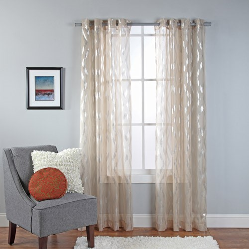 Delancey Metallic Print Sheer Grommet Window Panel