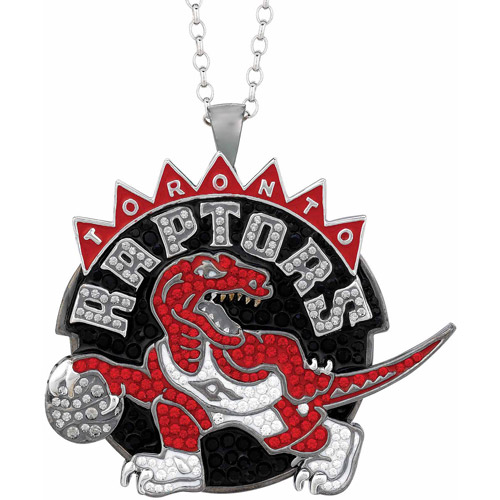NBA Men's Swarovski Crystal Stainless Steel Toronto Raptors Medallion Pendant, 24""