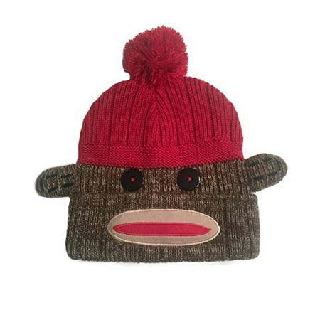 Sock Monkey - Adult Cuff Knit PomPom Beanie Hat (Brown Combo 9d9ad3155f9b