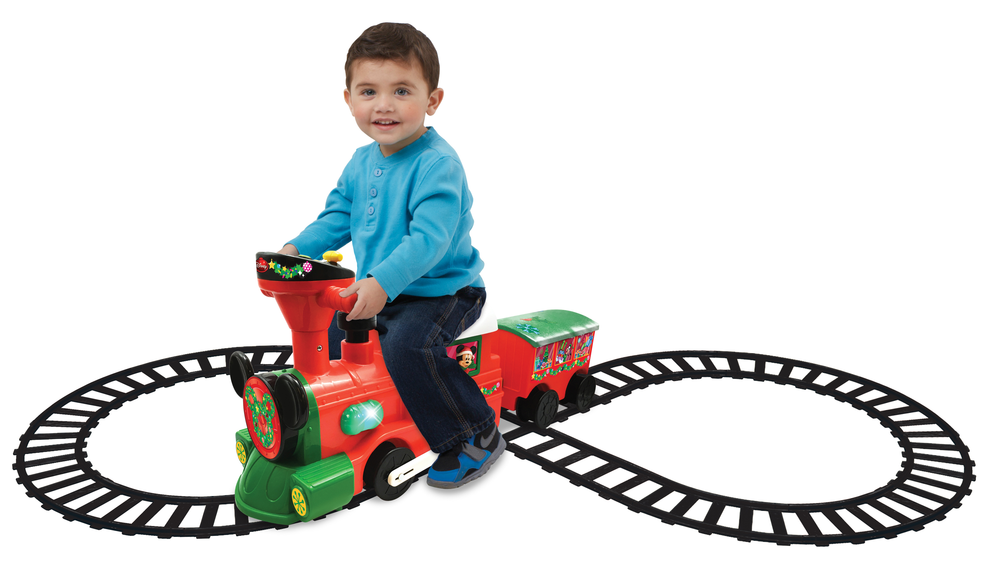 Disney Holiday Mickey Mouse and Friends 2 in 1 Battery Powered Train with Tracks by Kiddieland