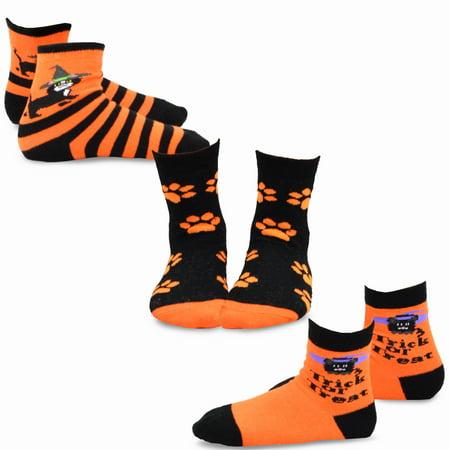 TeeHee Halloween Kids Cotton Fun Crew Socks 3-Pair Pack (Kitten Trick or Treat Kids) - Halloween Crossfit Socks