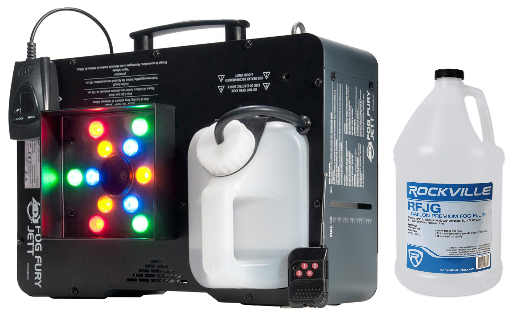 American DJ Fog Fury Jett 700W Vertical Fog Machine w  LED+DMX+Remote+Fog Fluid by American DJ