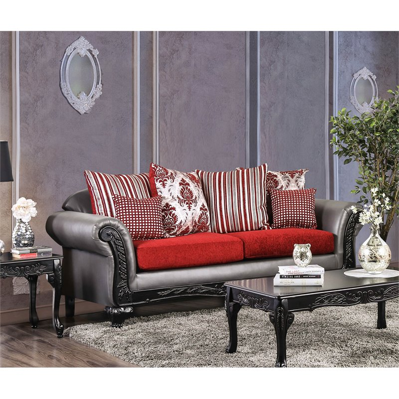 Furniture of America Andra Traditional Sofa in Gray and Red