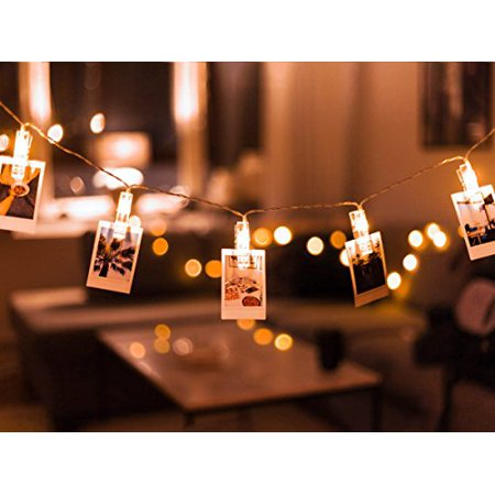 Photo Clip String Lights 20-LED USB-Powered with 8-mode Remote by TMB  Lights | Holiday Fairy Christmas String Lights, Weddings/Anniversary, 10ft  Warm ...