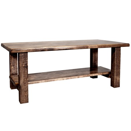 Homestead Collection Coffee Table w/ Shelf, Stain & Clear Lacquer Finish - Lacquered Coffee Finish