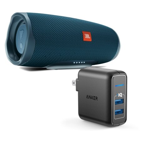 JBL Charge 4 Blue Portable Bluetooth Speaker w/Anker Wall Charger