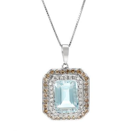 Necklace with 3 1/2ct TW Aquamarine, Diamonds Crafted in 14K White Gold