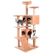 Cat Condo Furniture Tree Tower  Scratch Post Kitty Pet House Play Beige New