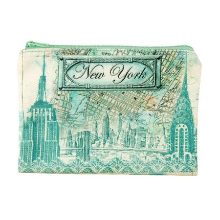 Americaware ZPNYC02 New York Blue Map & Icons Zip - Map Pouch