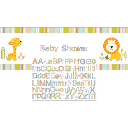 Pack of 6 Soothing Colors Letters Printed Baby Shower Giant Party Banners - Baby Shower Colors