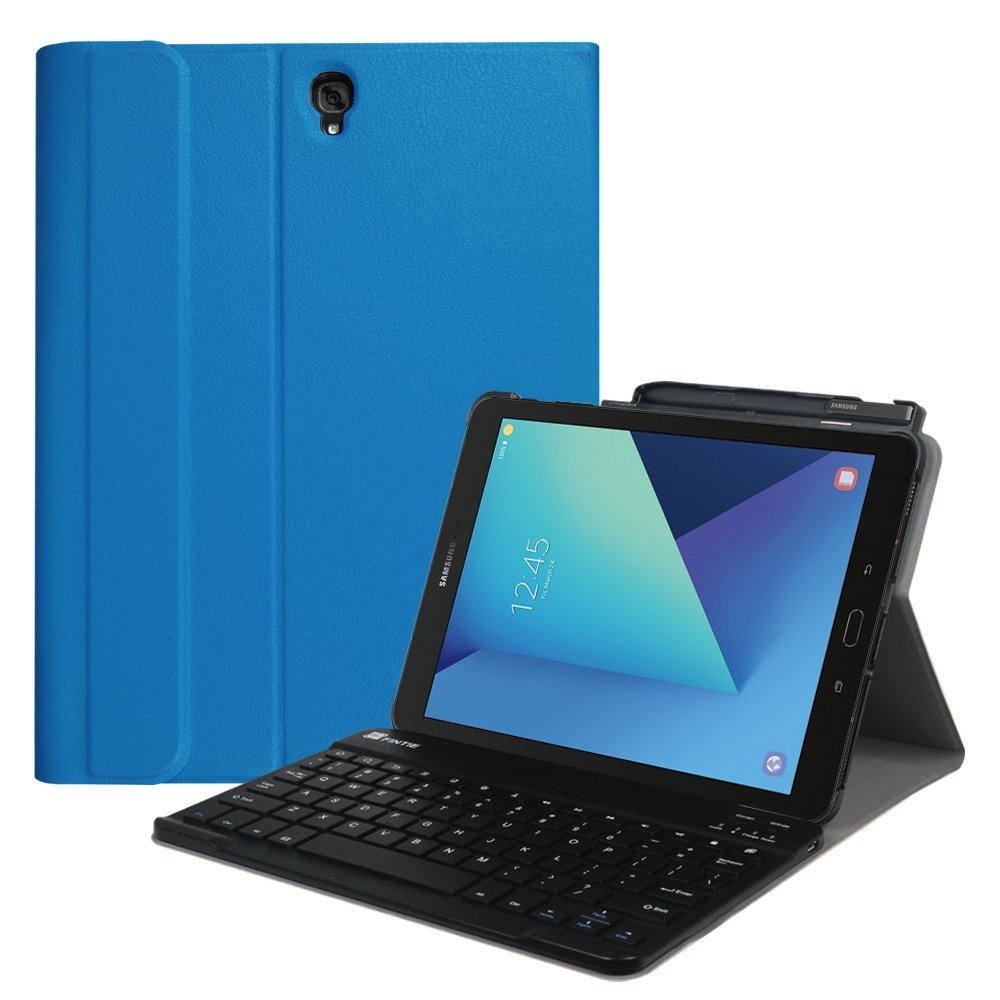 For Samsung Galaxy Tab S3 9.7 Wireless Bluetooth Keyboard Case, Smart Slim Cover with S Pen Protective Holder , Blue