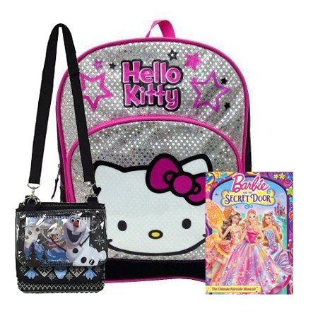 Hello Kitty Black Pink School Glitter Backpack + Barbie DVD + Disney Frozen Olaf Bag -Kids Gift Set