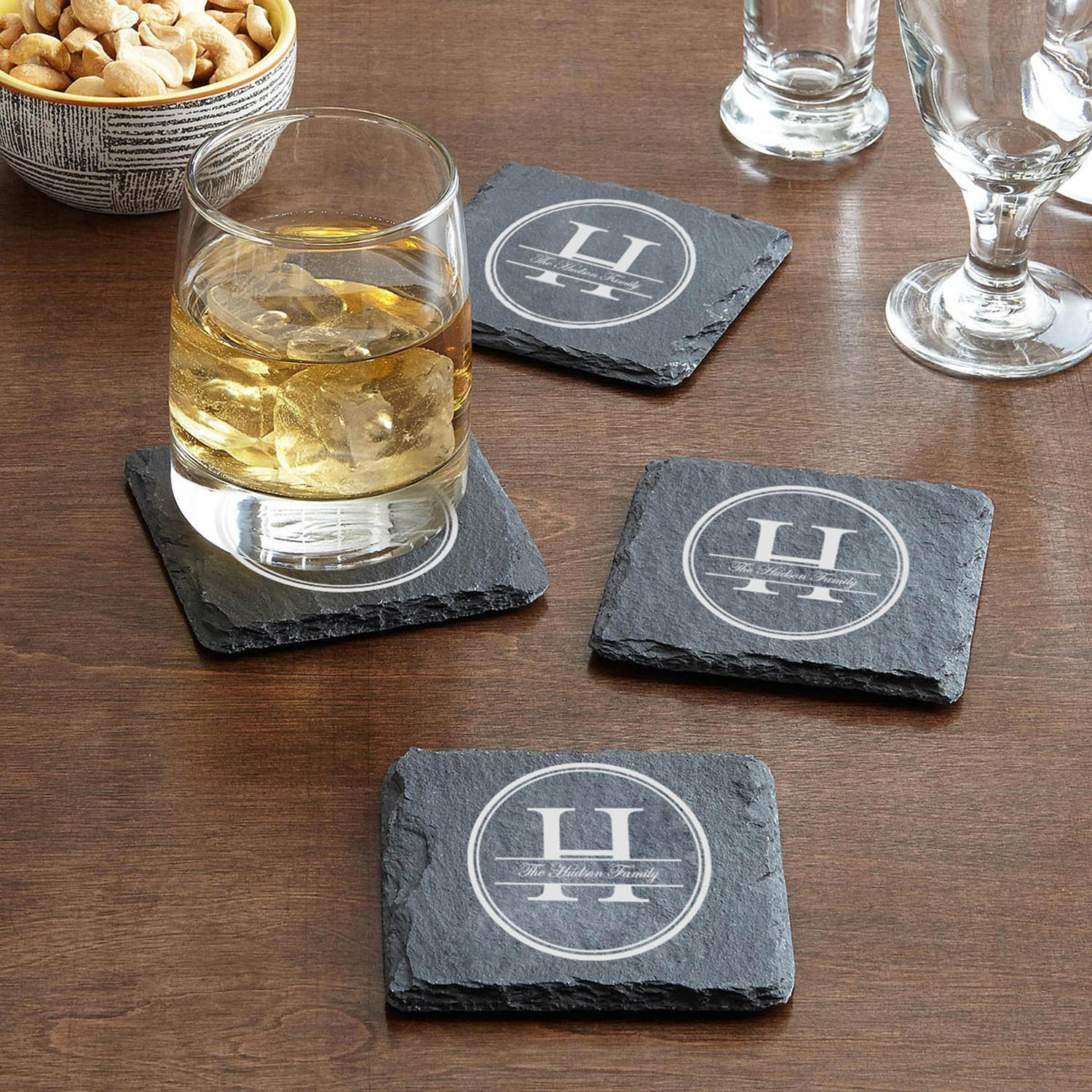 Personalized Family Name Slate Coasters
