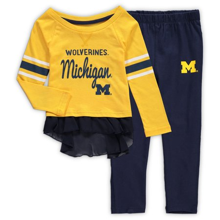 Michigan Wolverines Girls Toddler Mini Formation Long Sleeve Top and Pants Set - Maize/Navy](Wolverine Outfits)