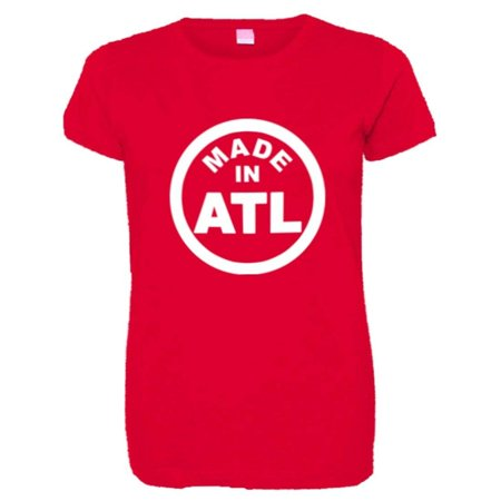 PleaseMeTees™ Womens From Born Made In Atlanta GA Logo Label Tag HQ Tee - Kelly In Spandex
