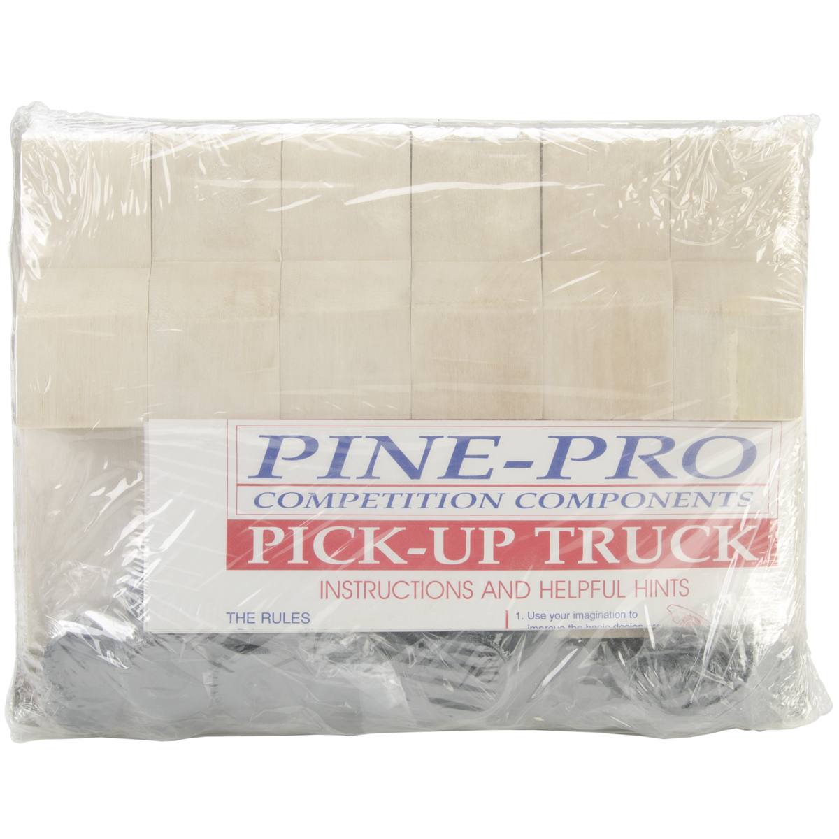 Pinepro Pine Car Derby Bulk Pack Kit, 6 per pkg, Pick-Up Truck W/Wheels And Axles