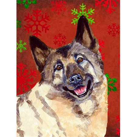 Carolines Treasures LH9353GF 11 x 15 In. Norwegian Elkhound Red And Green Snowflakes Holiday Christmas Flag, Garden Size - image 1 of 1