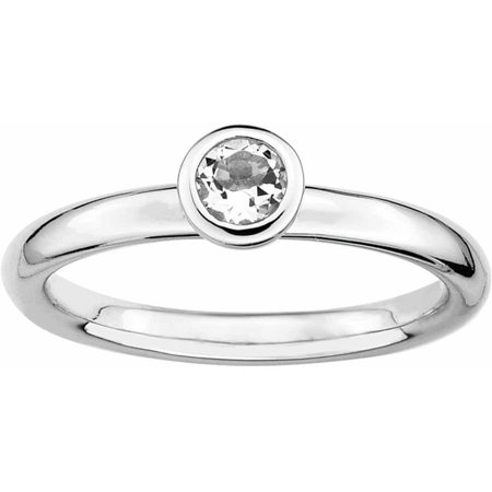 Sterling Silver Low 4mm Round White Topaz Ring