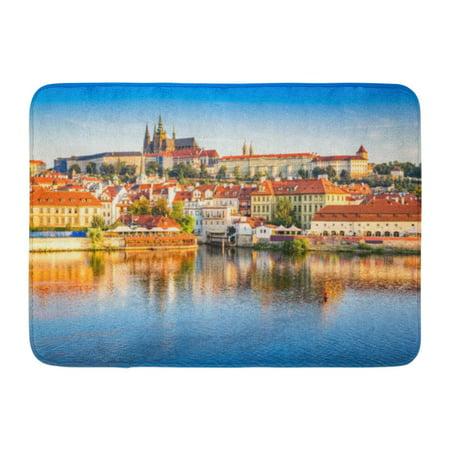 GODPOK Prague Bohemia Czech Republic Hradcany is The Praha Castle with Churches Chapels Halls and Towers from Rug Doormat Bath Mat 23.6x15.7 (Czech Republic Praha Castle)