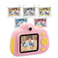 Kids Toys Camera for 3-6 Year Old Girls Boys, Compact Cameras for Children, Best Gift for 5-10 Year Old Boy Girl 8MP HD Video Camera Creative Gifts, Pink(32GB Memory Card Included), I5482