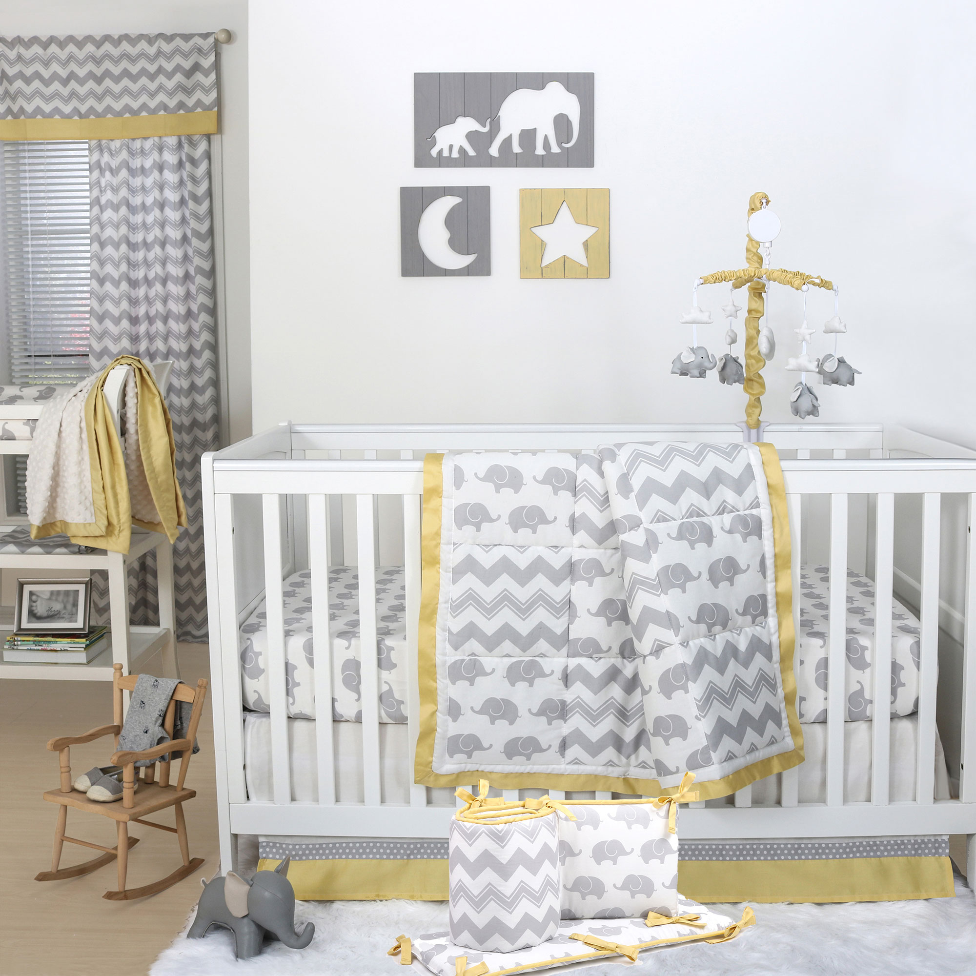 The Peanut Shell 5 Piece Baby Crib Bedding Set - Grey Elephant and Zig Zag with Yellow Trim - 100% Cotton Quilt, Bumper, Dust Ruffle, Fitted Sheet, and Mobile